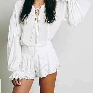 Free People Kadek Textured Gypsy Boho Lace Shorts